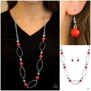 Paparazzi Simple Stonework Red Necklace Set